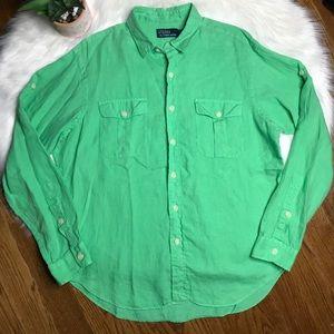 Polo Ralph Lauren Green Linen Shirt Size Large